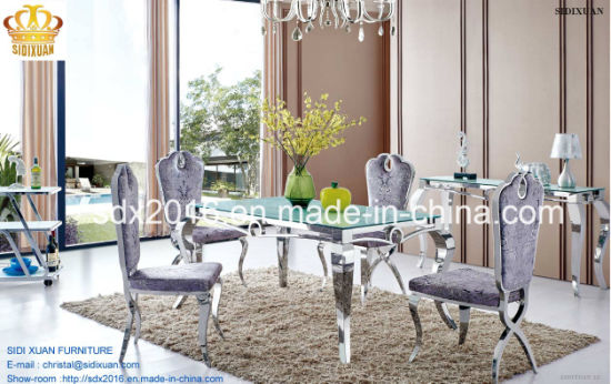Dining Table / Dining Chair / Living Room Furniture / Stainless Steel Table  / Banquet Chair / Hotel Chair / Home Furniture / Glass Table Sj807 + Cy020
