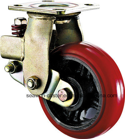 5inch Red PU Shock-Absorbing Caster