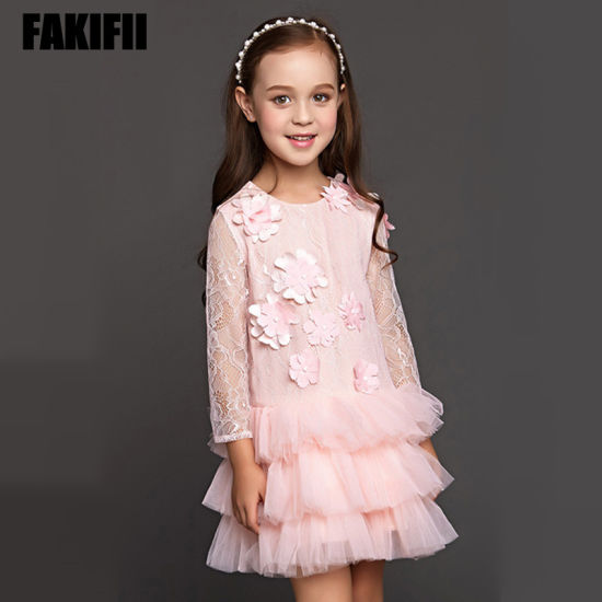 Girls Flower Wedding Lace Dress Tutu Party Dress for Kids pictures & photos
