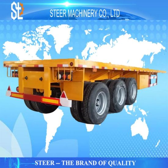 3 Axle 40 Feet Container Transport Semi-Trailer 40FT Container Flatbed Trailer Chassis Semi Trailer pictures & photos