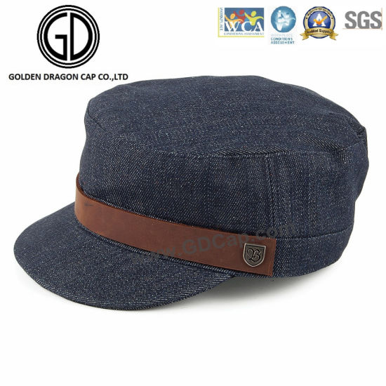 5b9d1495dfea65 2016 High Quality Washed Denim Army Hats Military Cap with Leather Belt  pictures & photos