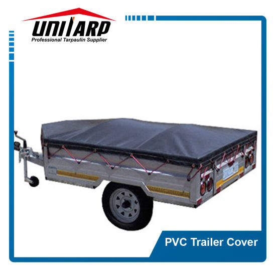 Popular 480GSM Dark Grey Logo Printed PVC Trailer Covers pictures & photos