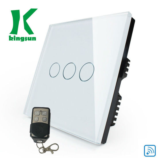 UK White (3 Gang 1 Way) Smart Glass Panel Remote Touch Light Switch pictures & photos