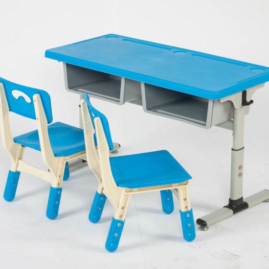 School Preschool Double Study Desk And Chair Set For Kids ...