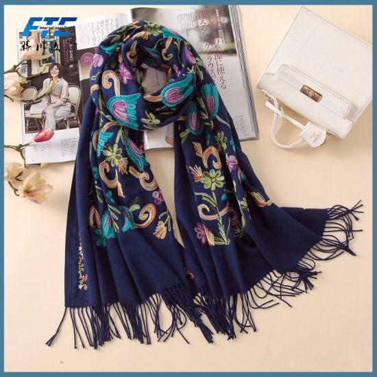 Embroidery Cashmere Scarves Vintage Winter Women Scarf Long Size Shawls