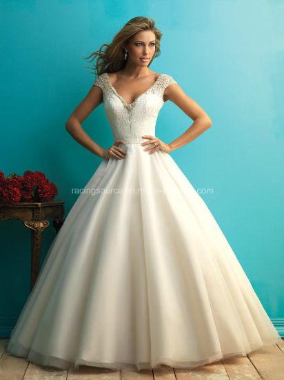 China 2016 Empire V-Line Cap Sleeve Bridal Gown Beading Wedding ...