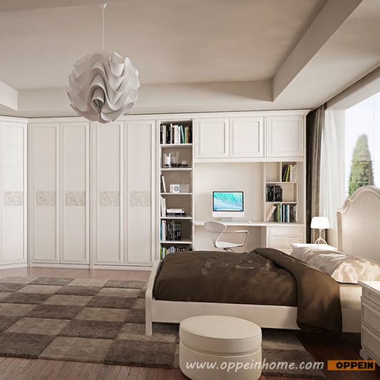 Cream Lacquer Wooden Wholesale Bedroom Furniture Wardrobe With Book Shelf