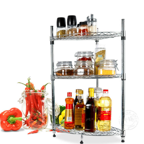 DIY 4 Tiers Chrome Metal Wire Corner Kitchen Shelf Rack with NSF Approval pictures & photos