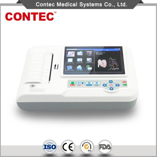 Contec Ce Approved Digital 3/6 (Six) Channel Portable ECG Machine Electrocardiograph