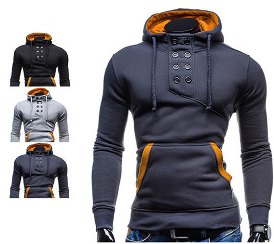 2016 Latest Men′s High Quality Double-Breasted Hooded Sweater pictures & photos