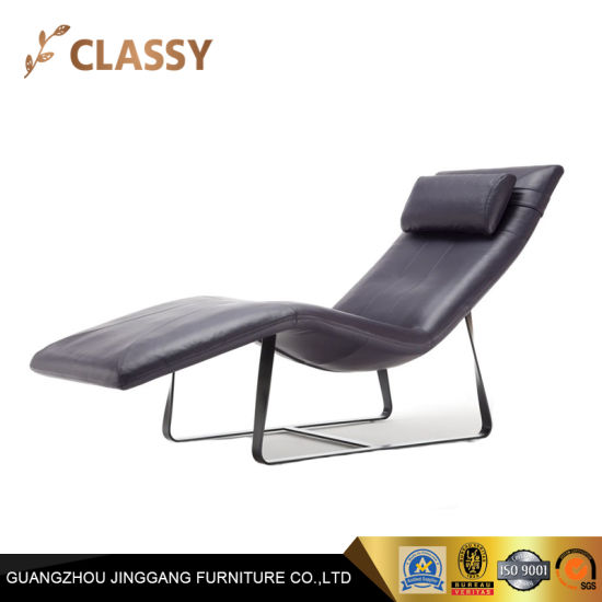 Outstanding European Modern Style Stainless Steel Legs Leather Chaise Lounge Leichair Alphanode Cool Chair Designs And Ideas Alphanodeonline