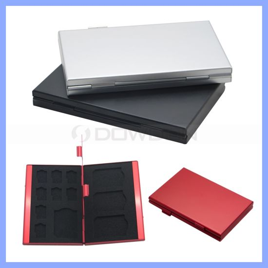 Aluminium Alloy EVA Storage Box for SD MMC TF Memory Card Protecter Case 4X for SD Card, 8X Micro SIM Card