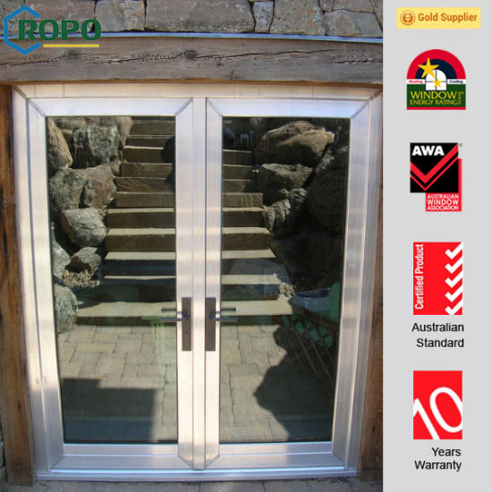 China Customized Pvcvinyl Front Double French Doors With Tinted