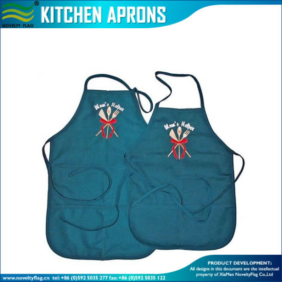 China Best Selling Logo Embroidery Promotional Kitchen Aprons M