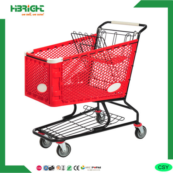 Red Large Supermarket Shopping Trolley Cart Plastic Coating pictures & photos