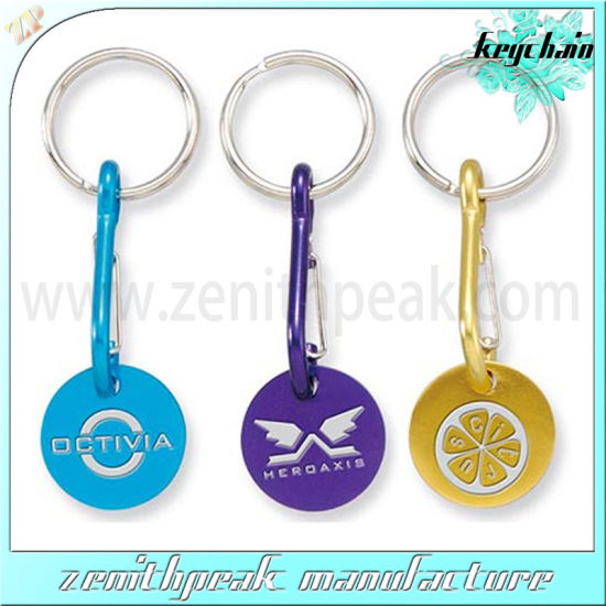 Promotional Cheap Shopping Trolley Token Coins Keychain Holder pictures & photos