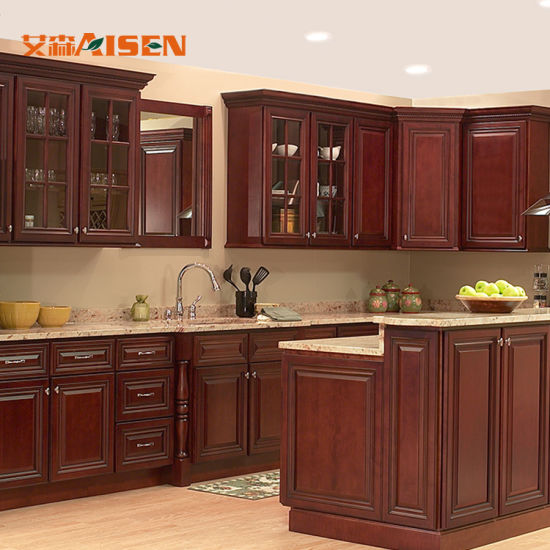 Luxury Country Style Solid Wood Red Oak Kitchen Cabinet ...