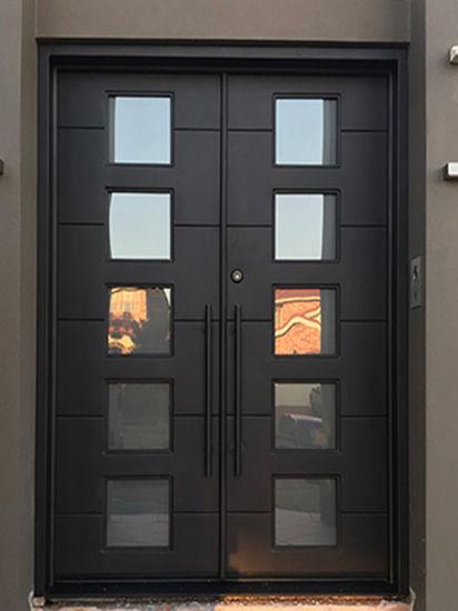 Modern House Steel Pipe French Door Design Iron Door