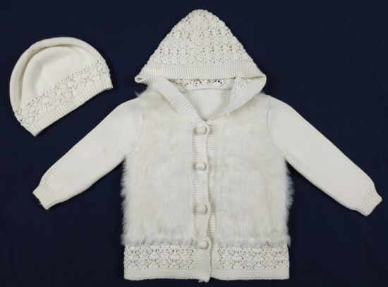 Infant Baby's Set Fur Hoody Cardigan with Fancy Knit and Legging