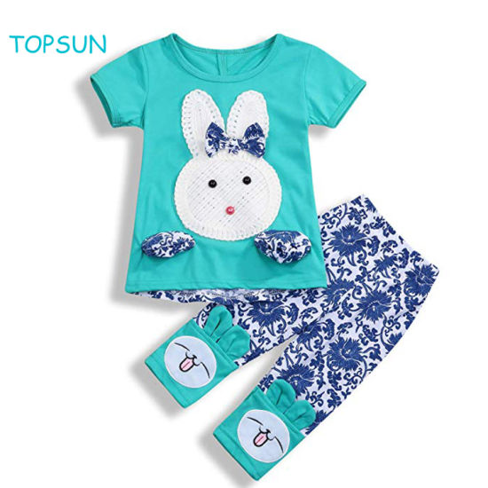 Toddler Baby Girls Clothes Set Cute Bunny Tops + Floral Pants Sets Outfit 2PCS