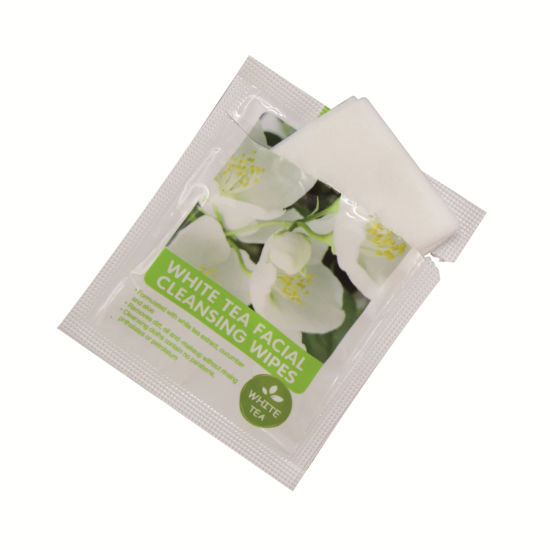 Individually Packaged White Tea Facial Cleansing Wet Wipes