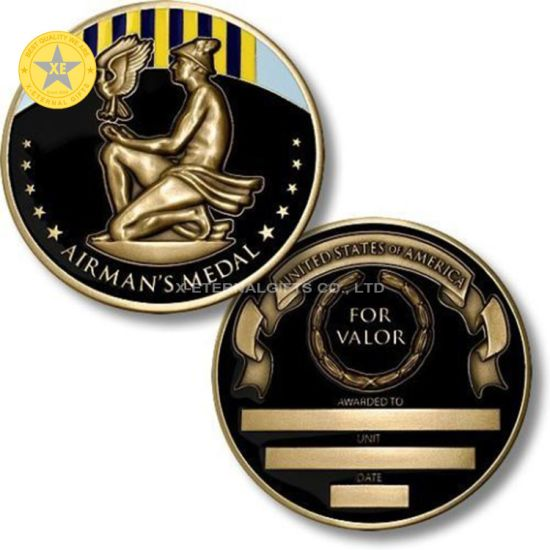 China Wholesale Customized Metal Crafts Gold Plated Soft Enamel Challenge Coins Military Award Honor Medal Souvenir Coin Badge with Logo Design