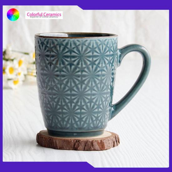 Mugs Embossed Ceramic Coffee Tea Cup