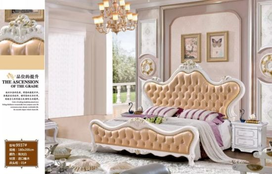 Antique French Style Wood Carved Bedroom Furniture Luxury Flat Bed
