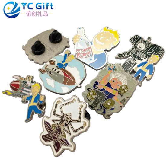 Professional Supplies Custom Zinc Alloy Enamel Cartoon Badges Anime Memorial Gift Emblem Fashion Clothing Accessories Woven Lapel Pin with Design Logo