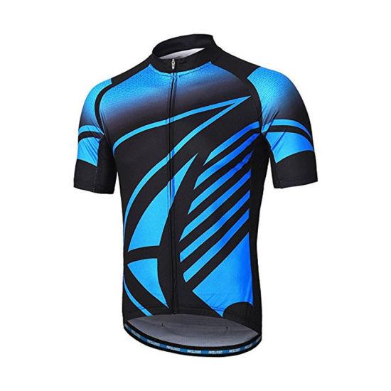 Men Cycling Clothes Short Sleeve Mountain Bike Shirt MTB Top Zipper Pockets Reflective Sportswear Large Size
