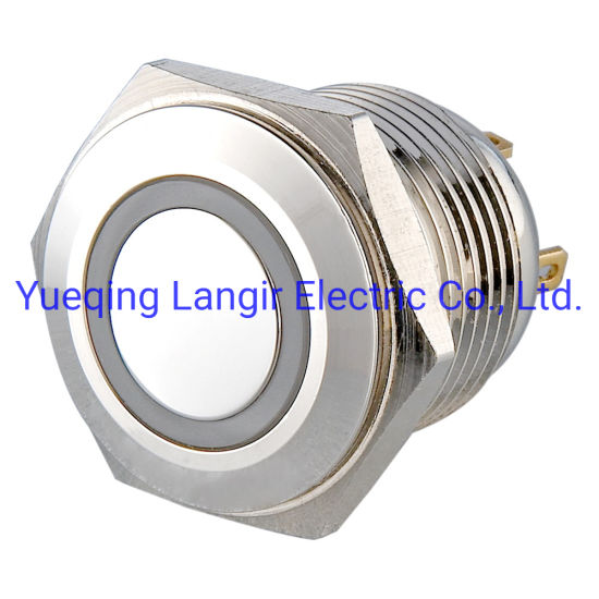 16mm Nickel Plated Brass LED Waterproof Push Button Switch
