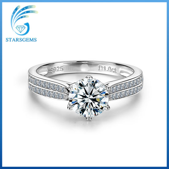 Round Star Cut Aaaaa Quality Cubic Zirconia 925 Sterling Silver Ring pictures & photos