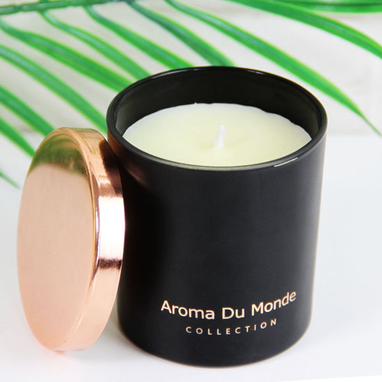 Luxury Glass Black Candle Jars with Metal Rose Gold Lids, Luxury Custom Private Label Candle Gift Set Best Scented Soy Wax Candles