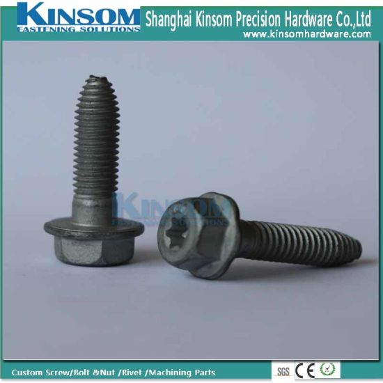 Torx Hexagon Six Lobe Flange Machine Screw with Shape Point Shank Dacromet Coating