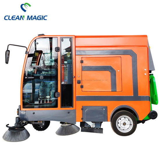 Clean Magic DJ2100gt Electric Ride on Fully Closed Road Sweeping Truck Floor Sweeper Vehicle Street Cleaning Machine with Cabin Industrial