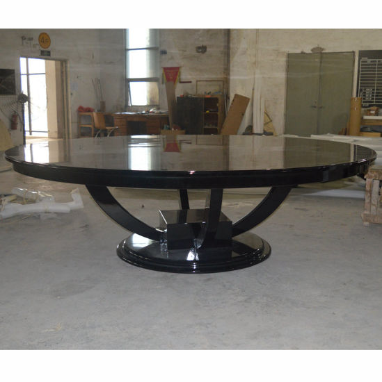 a8552393e38 Black Glossy Big Round Wooden Dining Table for Hotel Restaurant