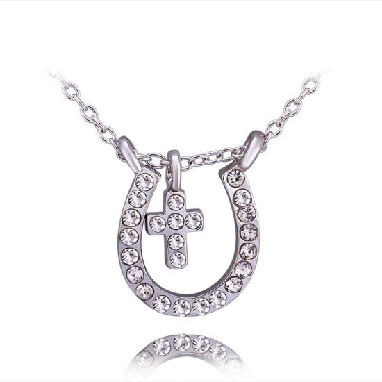 Fashion Jewelry Diamond Gold Cross Pendant Necklace jewellery for Promotion Gift