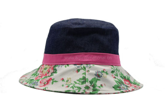 2f062c94b2aac China Lovely Cute Baby Girls Floral Bucket Hat with String and ...