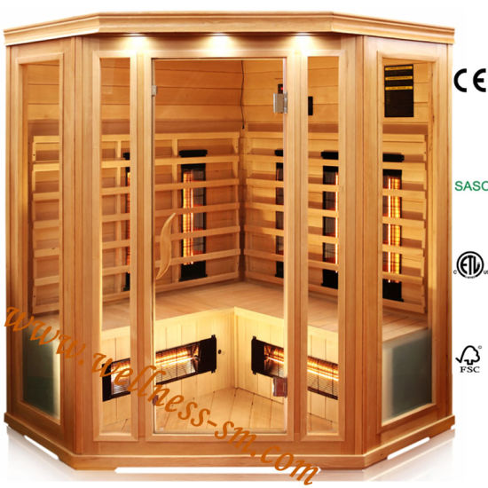 5 Person Big Dry Sauna Room for Indoor Use Made of Pure Hemlock Wood