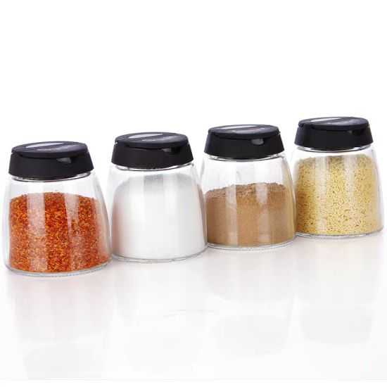 China Four Sets Glass Spice Bottle with Color Double Open PP