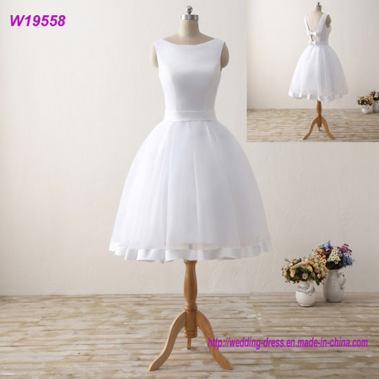 Cheap Short Beach Wedding Dresses Backless Women Knee Length Organza Satin Formal Bridal Party Gowns White Dress With Bow China Wedding Dress And Bridal Dress Price Made In China Com,Wedding Dress Sparkle Lace