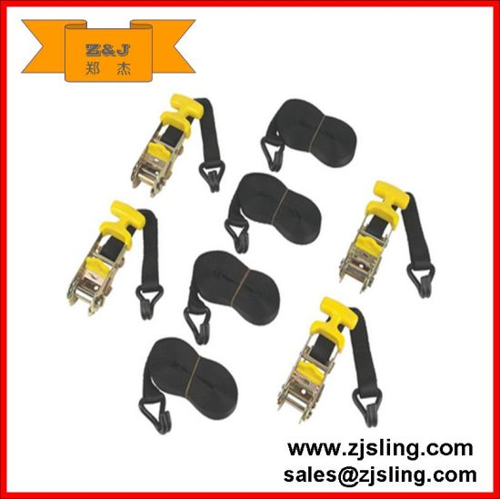 4.8m X 30mm. Polyester Webbing Ratchet Strap with J-Hook and T-Handle.