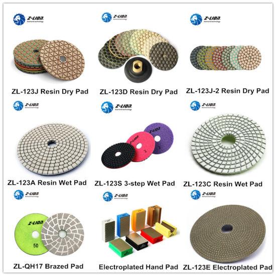 Zlion Dry Wet Flexible Electroplated Resin Bond Diamond Hand Foam Polishing Pads for Stone Granite Marble Quartz Edge Glass Ceramic Tile Car Polisher Grinding