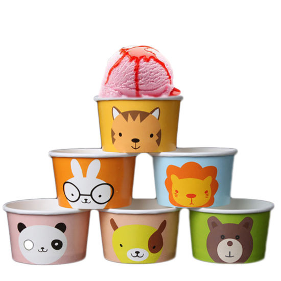 Disposable Animal Ice-Cream Paper Bowl Cartoon Salad Snacks Paper Cup or Cover Yoghourt Cake Bowl Party Supplies