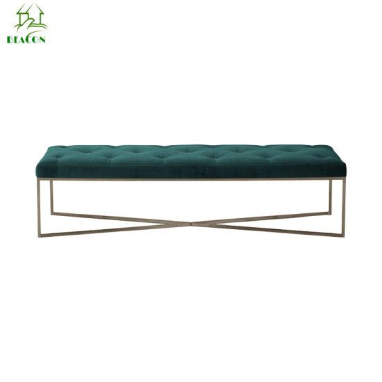 China Modern Home Bedroom Button Footstool Fabric Golden Legs Living