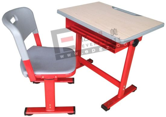 Adjustable Single Table and Chair for School Student pictures & photos