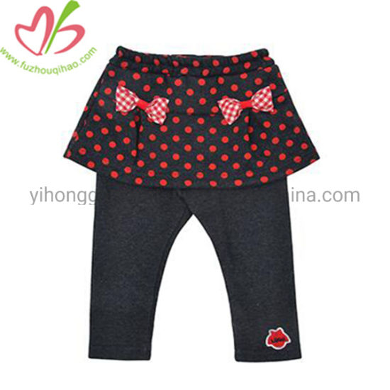 Cute Polka Dots Printing Girl Dress Pants with Bowknot