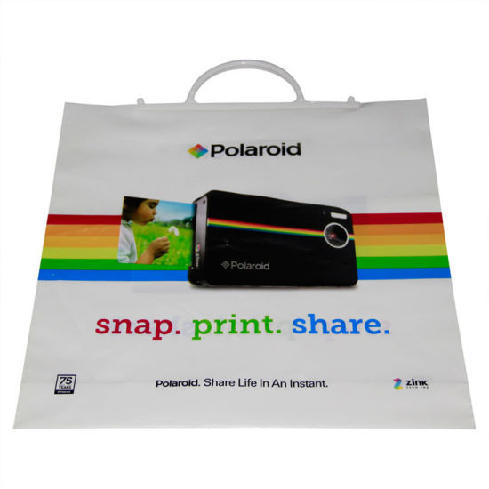 Bio-Degradable LDPE Branded Custom Printed Snap Handle Bags for Camera (FLS-8404)