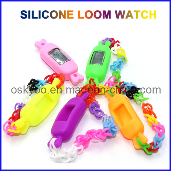 New DIY Silicone Promotional Kids Rainbow Loom Bands Watch pictures & photos
