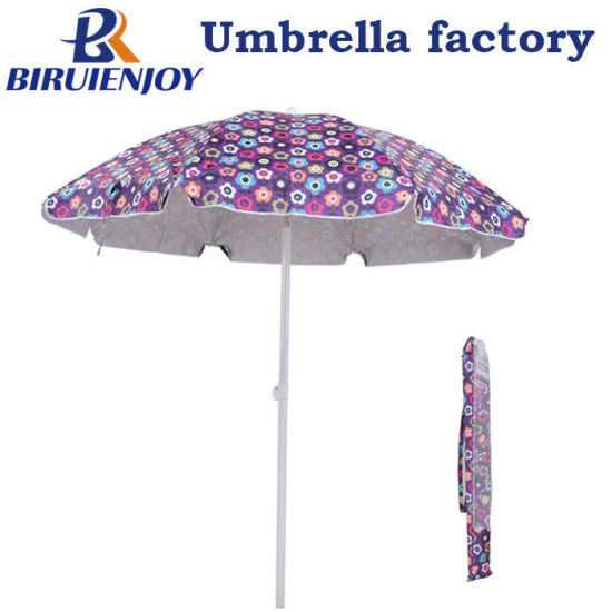 Fashion Flowers Printing ABS Tilt Beach Umbrella with Silver Coated 200 Cm